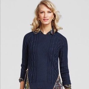 CAbi | Cable Knit Navy Zip Sweater